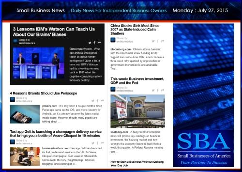Small Business News 07272015 SMBIZ AMERICA #smallbusiness #smbiz #america #news
