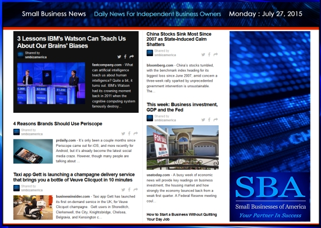 Small Business News 07272015 SMBIZ AMERICA #smallbusiness #smbiz #america #news