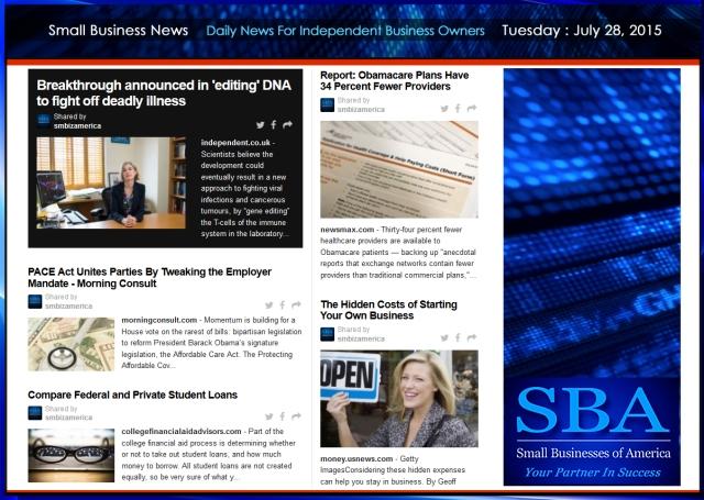 Small Business News 07282015 SMBIZ AMERICA #smallbusiness #smbiz #america #news