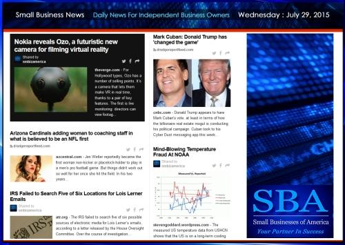 Small Business News 07292015 #smallbusiness #smbiz #america #news #donaldtrump #markcuban