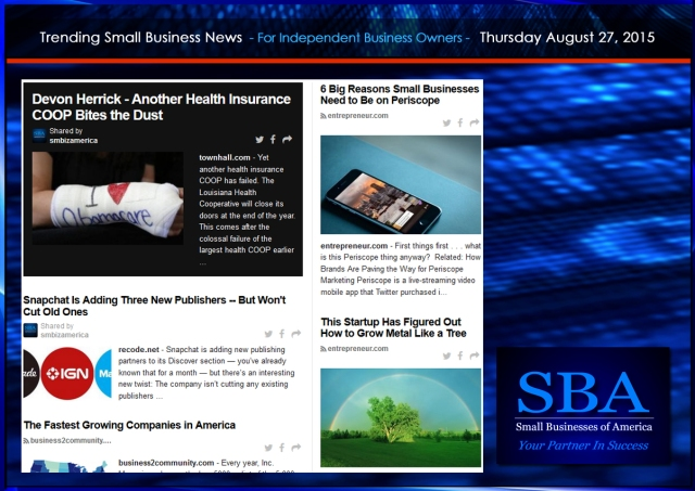 Trending Small Business News 08272015