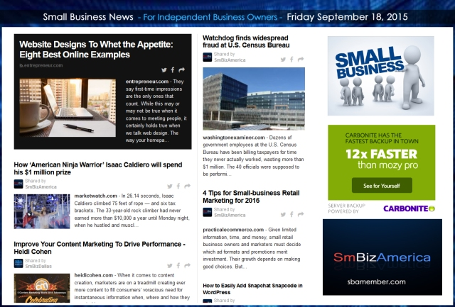 Small Business News 09182015