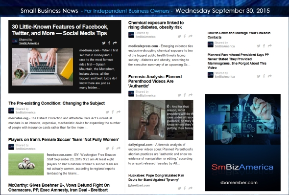 Small Business News 09302015