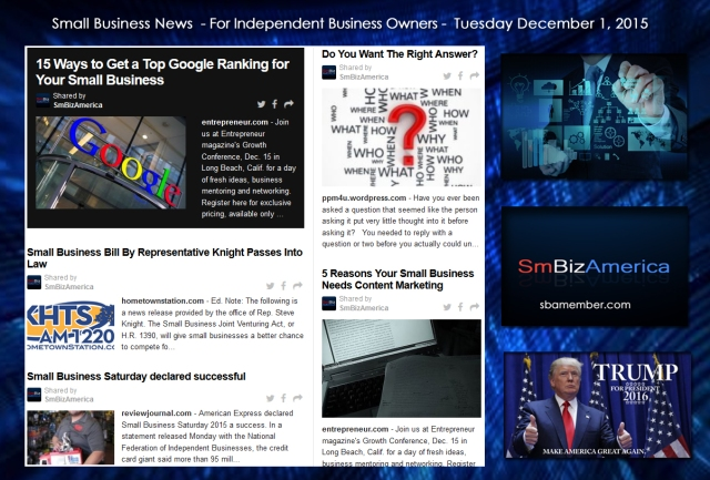 Small Business News December 1 2015