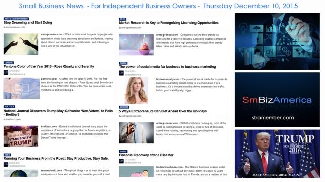 SMALL BUSINESS NEWS December 10 2015