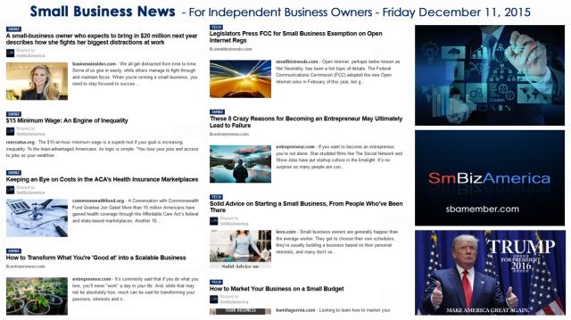 SMALL BUSINESS NEWS December 11 2015