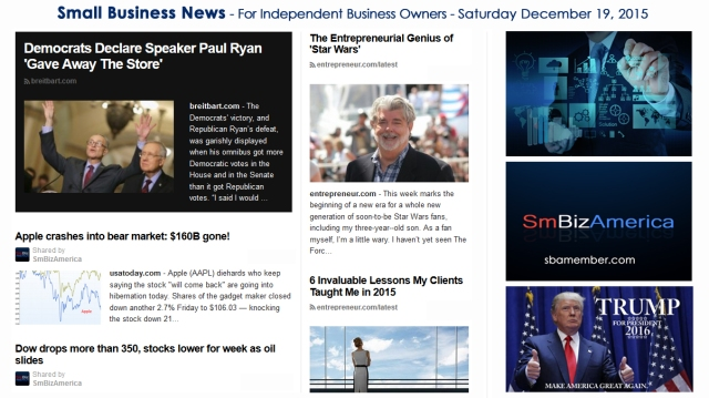 SMALL BUSINESS NEWS December 19 2015