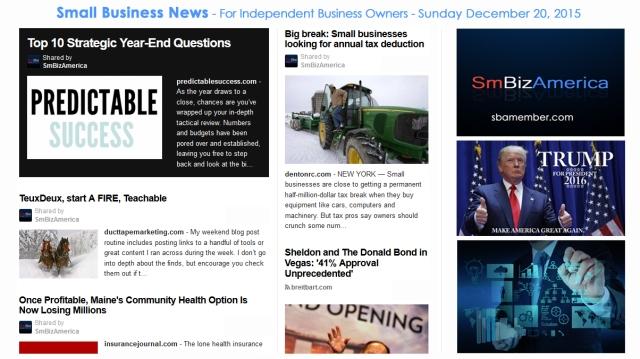 SMALL BUSINESS NEWS December 20 2015