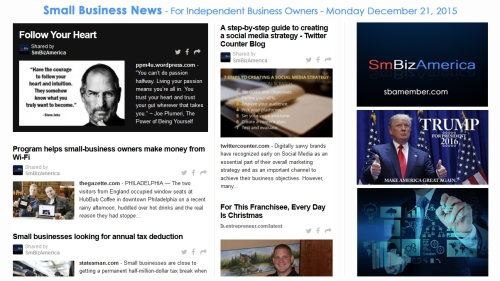 SMALL BUSINESS NEWS December 21 2015