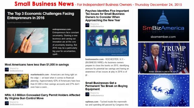 SMALL BUSINESS NEWS December 24 2015