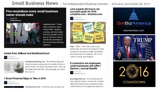 SMALL BUSINESS NEWS December 28 2015