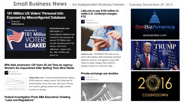 SMALL BUSINESS NEWS December 29 2015