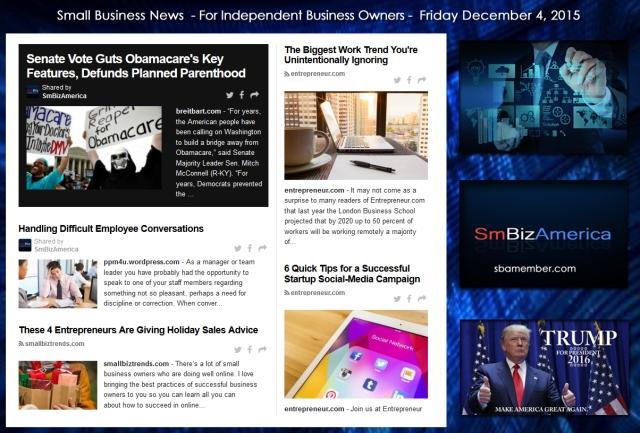Small Business News December 4 2015