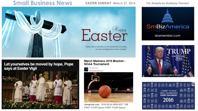 Small Business News 3.27.16 EASTER SUNDAY
