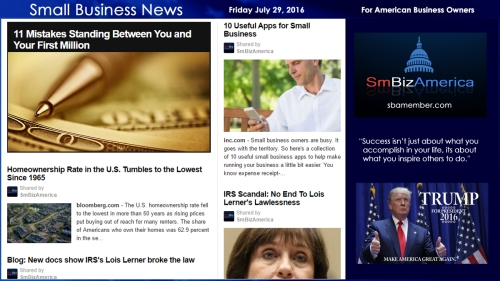 Small Business News Friday July 29 2016