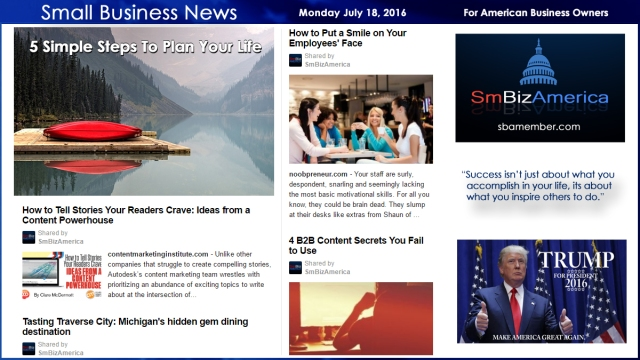 Small Business News Monday July 18, 2016