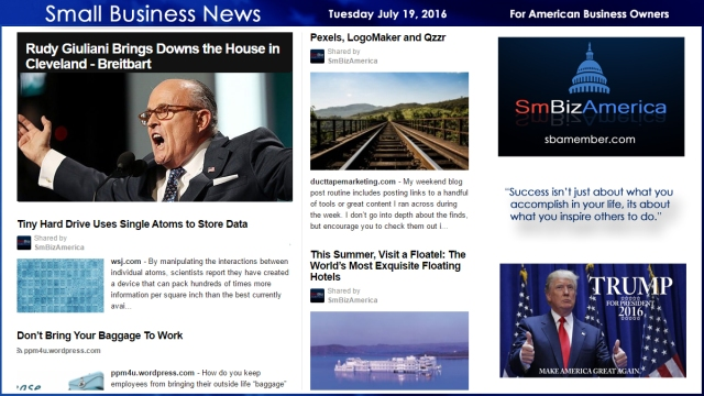 Small Business News Monday July 19, 2016