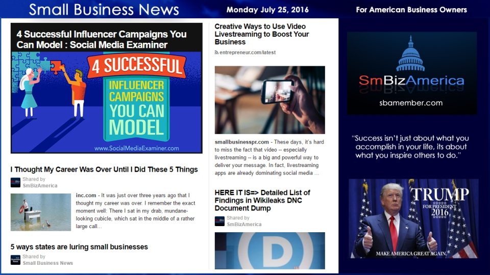 Small Business News Monday July 25 2016