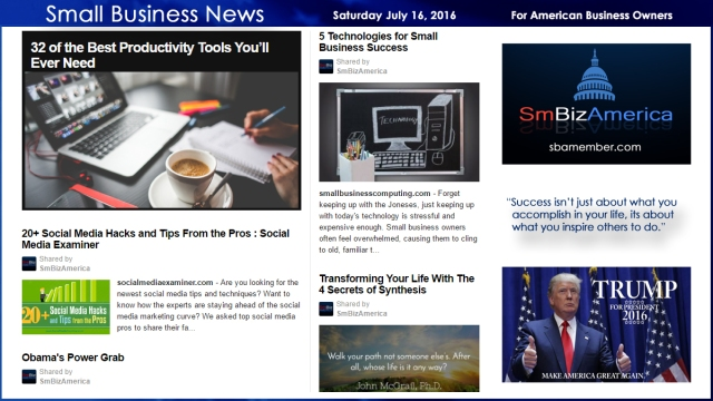 Small Business News Saturday July 16, 2016
