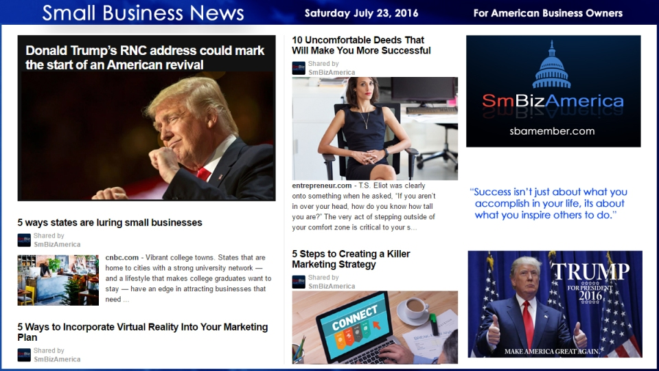 Small Business News Saturday July 23 2016