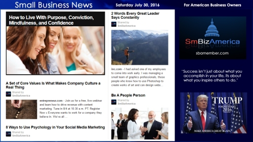 Small Business News Saturday July 30 2016