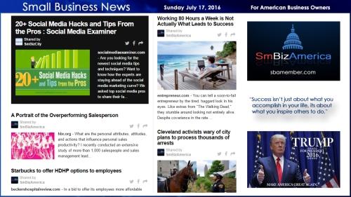 Small Business News Sunday July 17, 2016