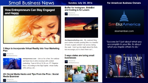 Small Business News Sunday July 24 2016