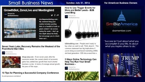 Small Business News Sunday July 31 2016
