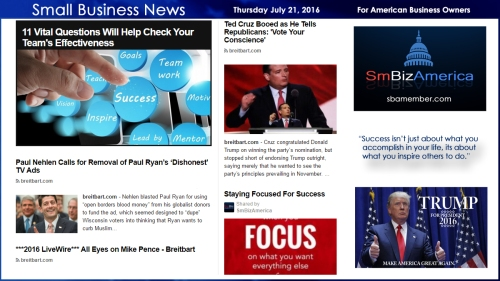 Small Business News Thursday July 21 2016