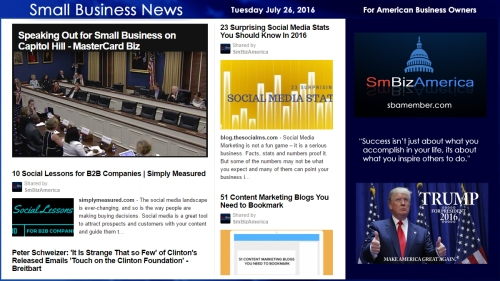 Small Business News Tuesday July 26 2016