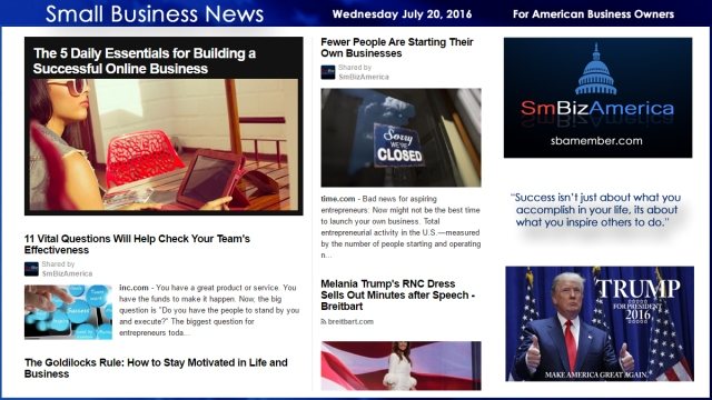 Small Business News Wednesday July 20 2016