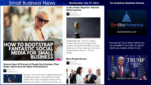 Small Business News Wednesday July 27 2016