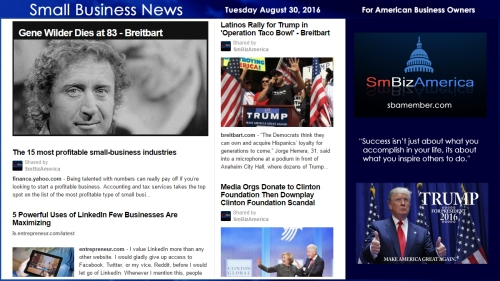 Small Business New Tuesday August 30 2016
