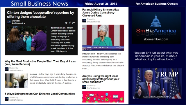 Small Business News Friday August 26 2016