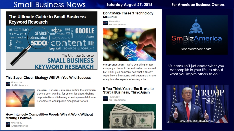 Small Business News Saturday August 27 2016
