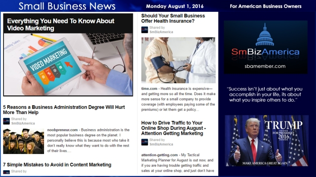 Small Business News Sunday August 1 2016
