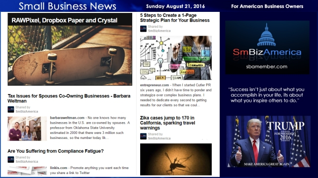 Small Business News Sunday August 21 2016