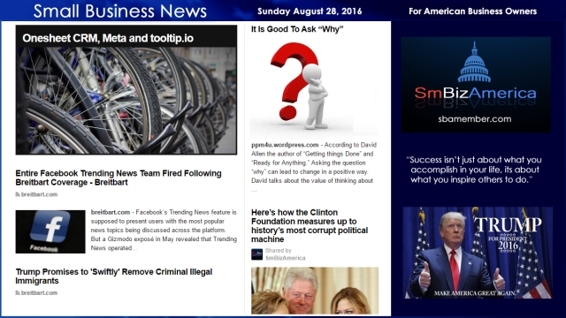 Small Business News Sunday August 28 2016