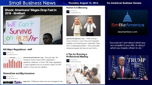 Small Business News Thursday August 11 2016