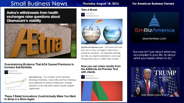 Small Business News Thursday August 18 2016