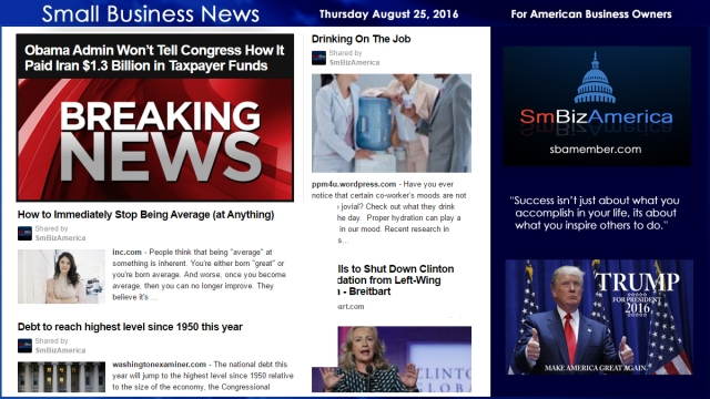 Small Business News Thursday August 25 2016