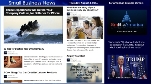 Small Business News Thursday August 4 2016