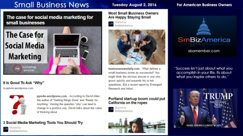 Small Business News Tuesday August 2 2016