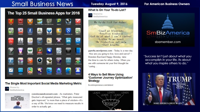 Small Business News Tuesday August 9 2016