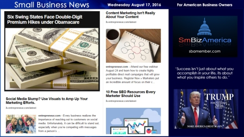 Small Business News Wednesday August 17 2016