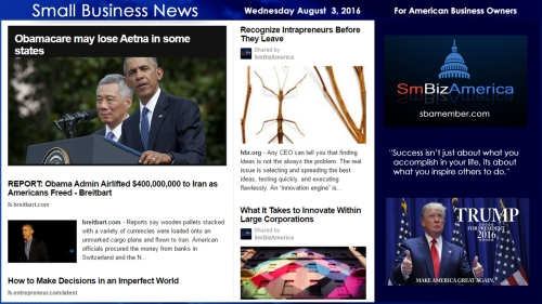Small Business News Wednesday August 3 2016