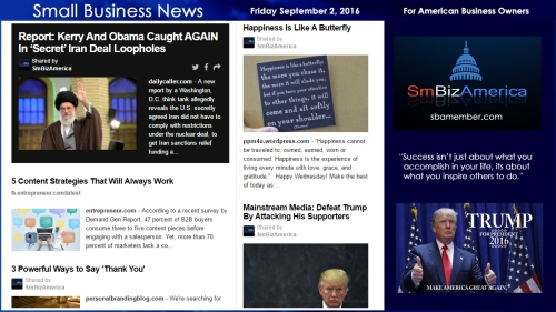 Small Business New Friday September 2, 2016