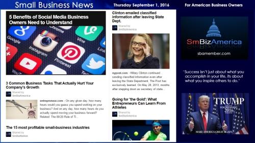 Small Business New Thursday September 1, 2016