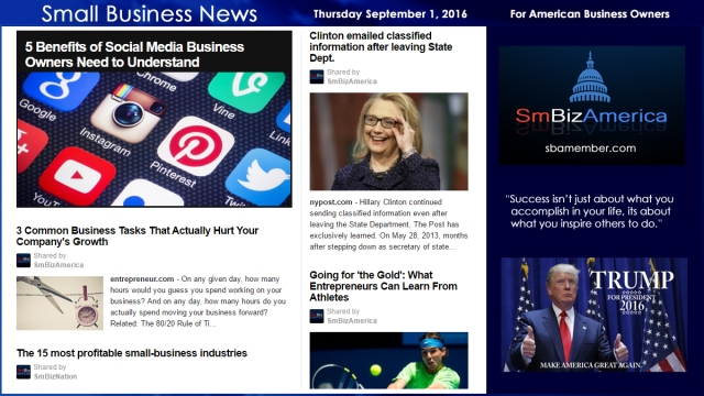 Small Business New Thursday September 1, 2016