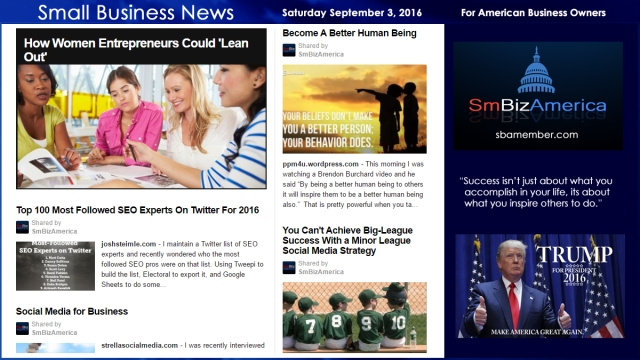 Small Business News Saturday September 3, 2016